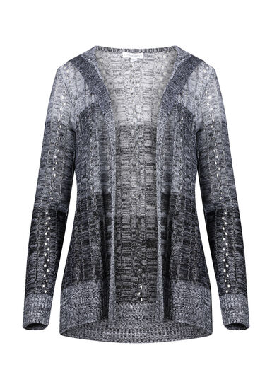 Women's Ombre Pointelle Hooded Cardigan, BLK/WHT, hi-res