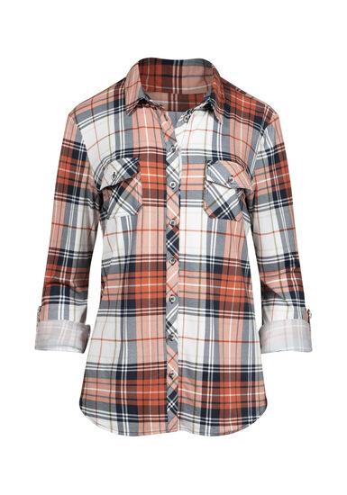 Women's 2-Pocket Knit Plaid Shirt, TERRACOTA, hi-res