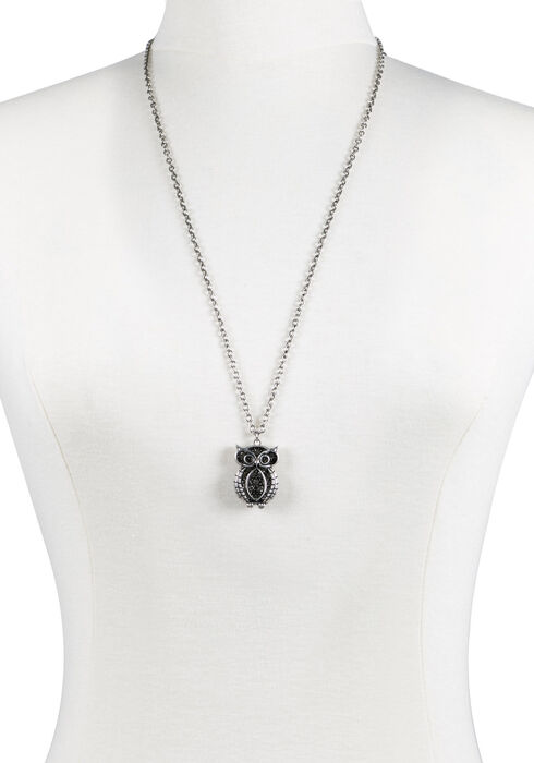 Ladies' Owl Pendant Necklace, SILVER, hi-res