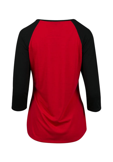 Ladies' Naughty & Nice Baseball Tee, TRUE RED/BLK, hi-res