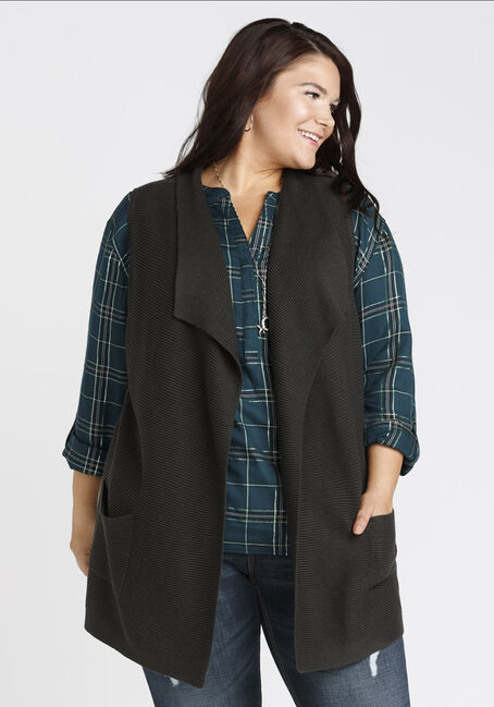 Ladies' Shawl Collar Vest, CHARCOAL, hi-res