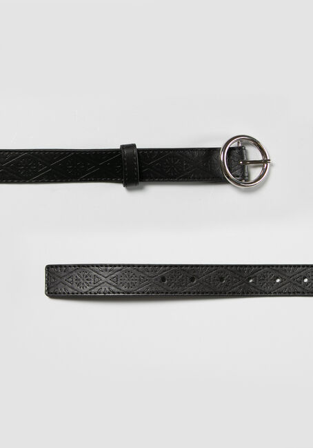 Women's Circle Hardware Embossed Belt, BLACK, hi-res