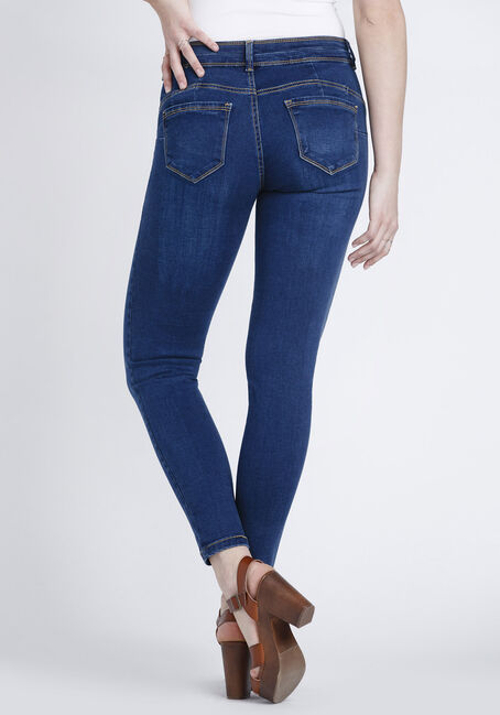 Women's Indigo Stacked Button Skinny Jeans, DARK WASH, hi-res