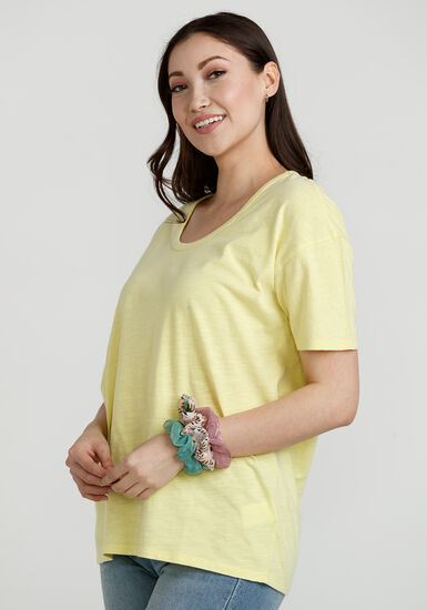 Women's Washed Oversized Tee, BRIGHT YELLOW, hi-res