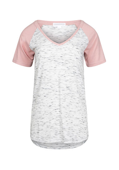 Women's V-Neck Space Dye Tee, DUSTY PINK, hi-res