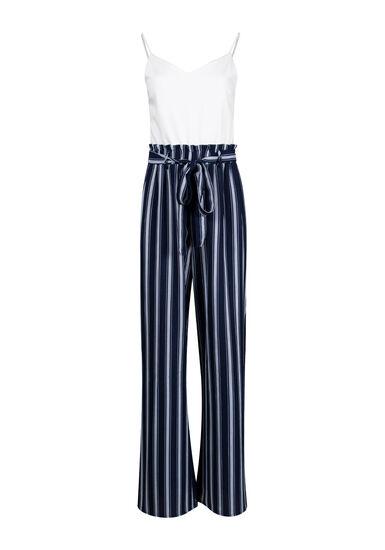 Women's Striped Paperbag Waist Jumpsuit, NAVY/WHT, hi-res