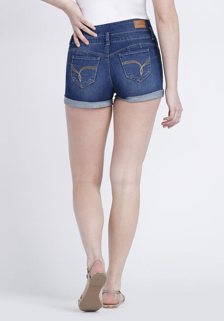 Women's 3 Button Stacked High Rise Short, DARK WASH, hi-res