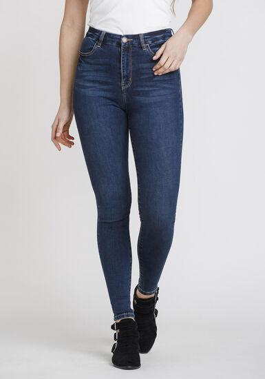 Women's High Rise Curvy Skinny Jeans, DARK WASH, hi-res