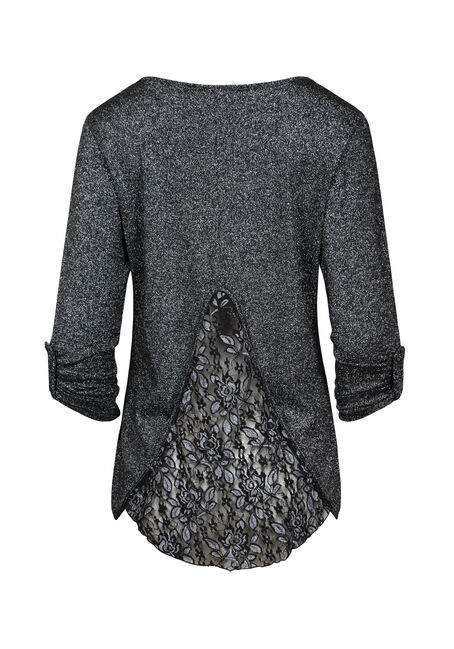 Women's Lace Insert Shimmer Top, BLACK, hi-res
