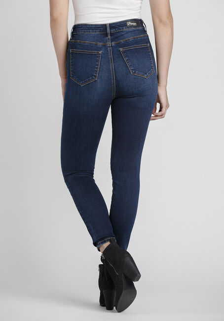 Women's Power Sculpt High Rise Skinny Jeans, DARK WASH, hi-res