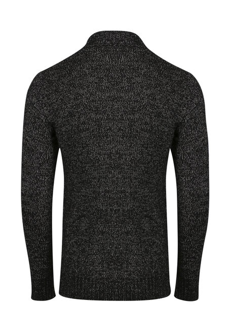 Men's Cable Knit Cardigan, BLK/WHT, hi-res