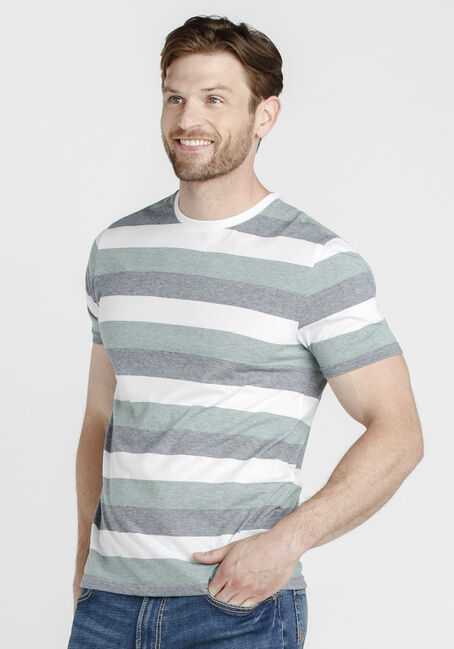 Men's Everyday Striped Crew NeckTee, MOSS, hi-res