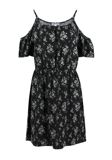 Ladies' Floral Cold Shoulder Dress, BLK/WHT FLORAL, hi-res