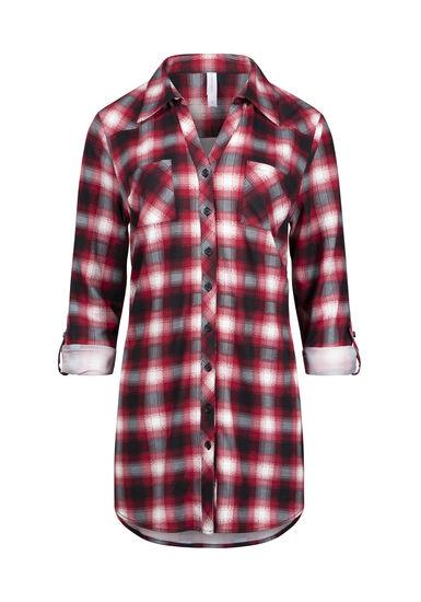 Women's Knit Plaid Tunic Shirt, RED, hi-res