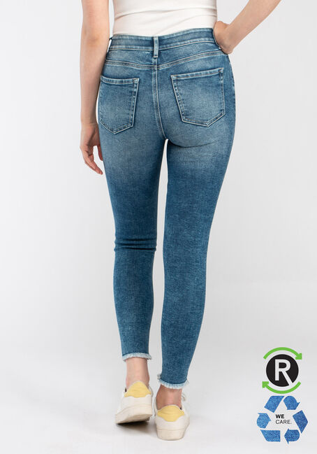 Women's High Rise Destroyed Ankle Skinny Jeans, MEDIUM WASH, hi-res