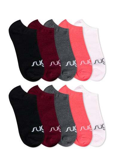 Women's 10 Pair Sugar Socks, MELON, hi-res