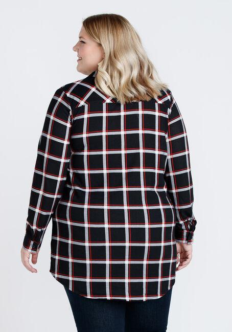 Women's Brushed Knit Plaid Tunic Shirt, BLACK, hi-res