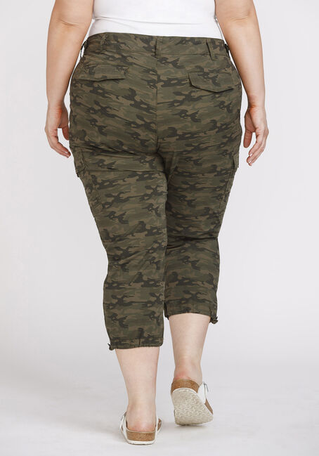 Women's Plus Size Camo Cargo Crop, DARK OLIVE, hi-res