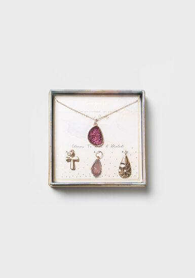 Women's Multi Charm Necklace, PURPLE, hi-res