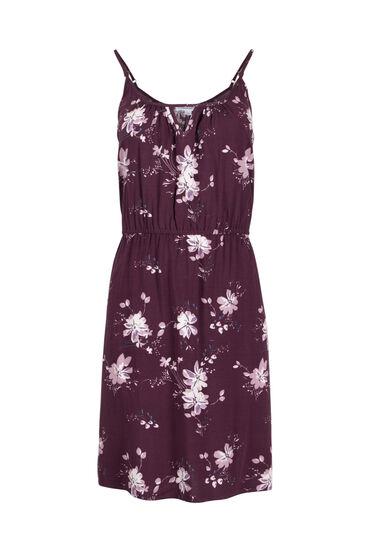 Women's Floral Keyhole Dress, PURPLE, hi-res