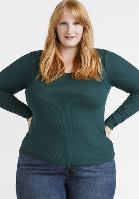 Women's Longsleeve Rib Knit Tee, HUNTER GREEN, hi-res