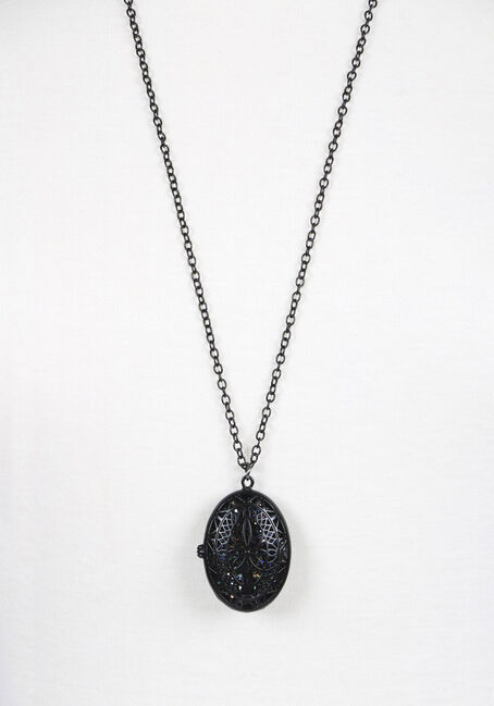 Ladies' Locket Necklace, BLACK, hi-res