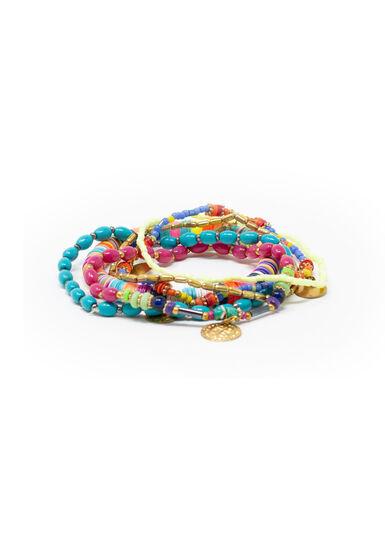 Women's 6 Pair Stretch Bracelet Set, MULTI, hi-res
