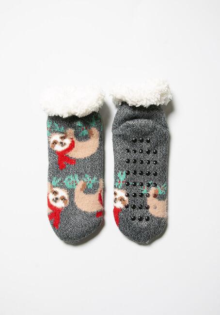 Women's Festive Slipper Socks, CHARCOAL, hi-res