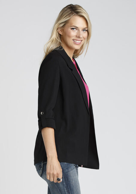 Ladies' Notch Collar Blazer, BLACK, hi-res