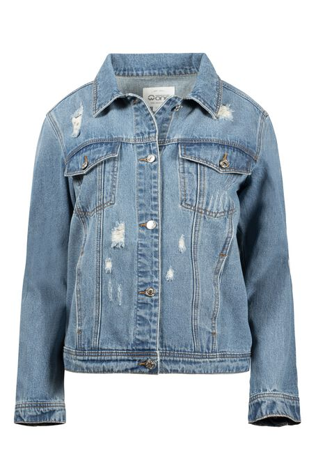 Women's Boyfriend Jean Jacket, DENIM, hi-res