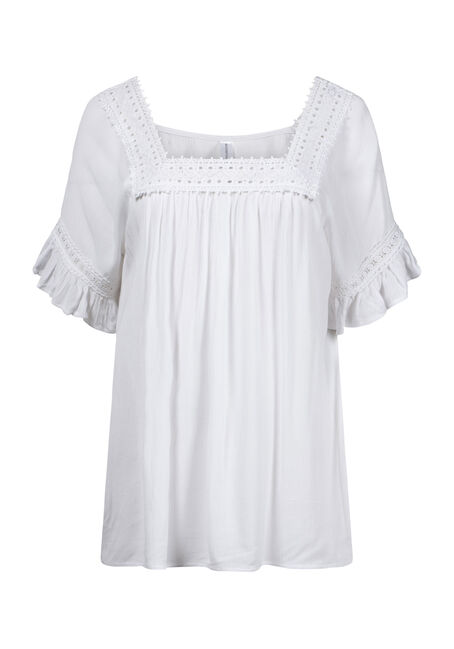 Women's Crochet Neck Peasant Top