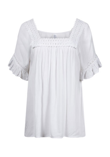 Women's Crochet Neck Peasant Top, WHITE, hi-res