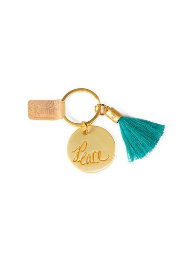 Round Tassel Keychain, TEAL, hi-res