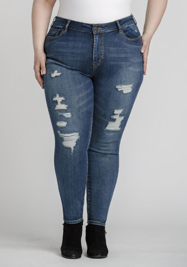 Women's Plus Size Rip & Repair Skinny Jeans, DARK WASH, hi-res