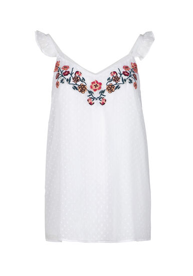 Women's Embroidered Ruffle Sleeve Tank, WHITE, hi-res