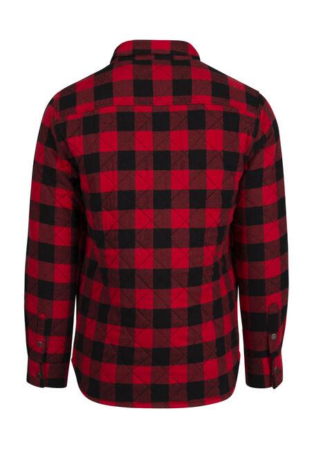Men's Quilted Flannel Shirt Jacket, CRIMSON, hi-res