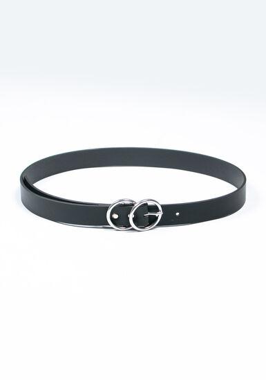 Women's Double O Buckle Belt, BLACK, hi-res
