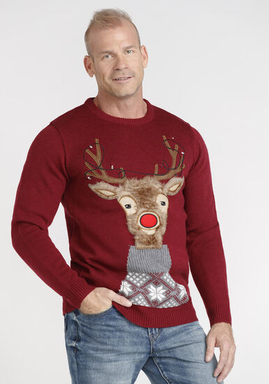 Men's Light Up Rudolph Sweater, RED, hi-res