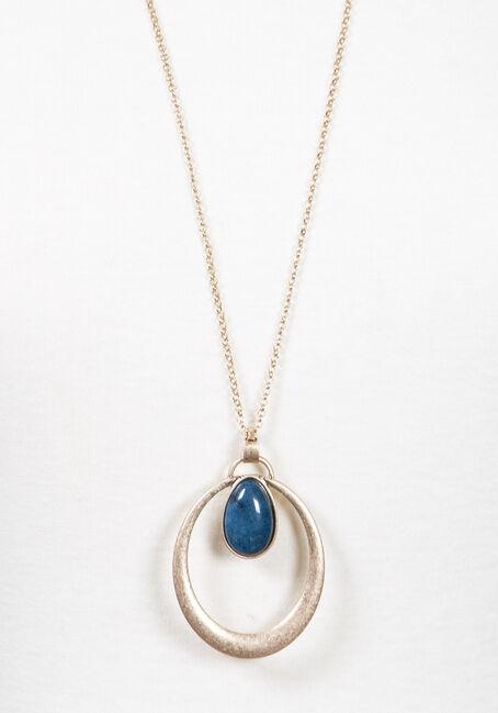 Women's Open Tear Drop Necklace, GOLD, hi-res