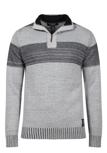 Men's 1/4 Zip Striped Sweater