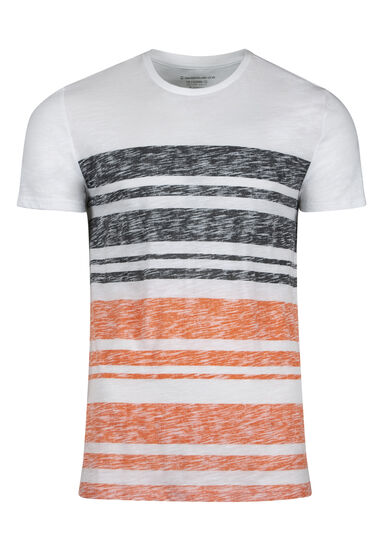 Men's Everyday Stripe Tee, BRIGHT ORANGE, hi-res