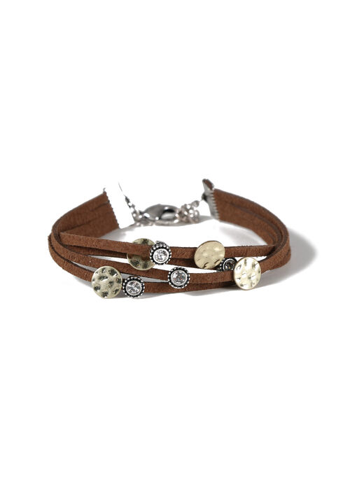 Women's Faux Suede Bracelet, BROWN, hi-res