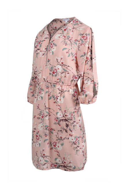 Women's Blossom Cold Shoulder Shirt Dress, ROSE QUARTZ FLRL, hi-res