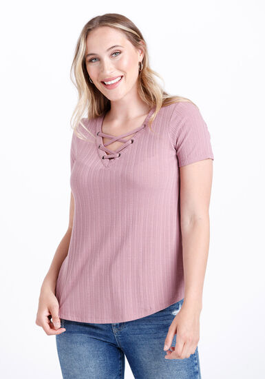 Women's Lace Up Ribbed Tee, PEONY PINK, hi-res