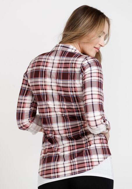 Women's Knit Plaid Shirt, BURGUNDY, hi-res