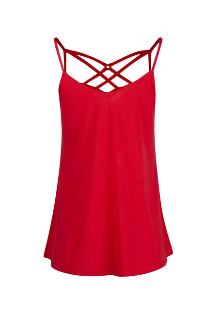 Women's Cage Neck Tank, RED SEA, hi-res