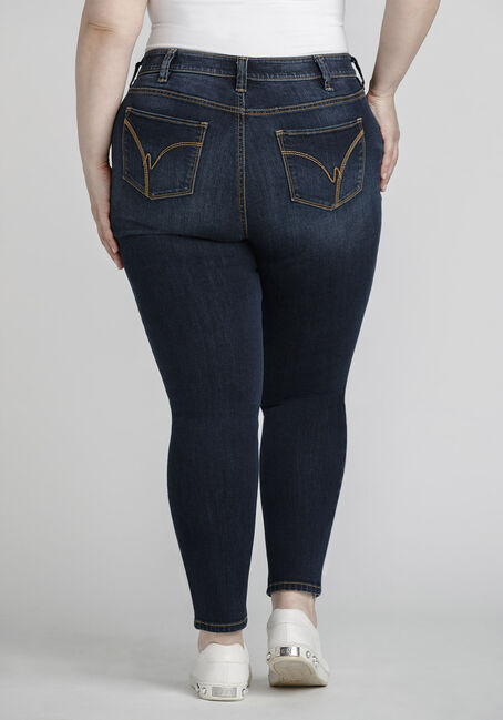 Women's Plus Size Dark Distressed Skinny Jeans, DENIM, hi-res