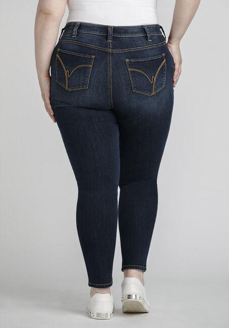 Women's Plus Size Dark Distressed Skinny Jeans, DENIM, hi-res