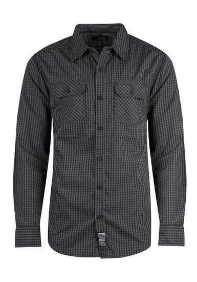 Men's Plaid Shirt, BLACK, hi-res