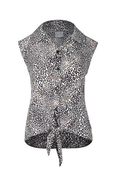 Women's Tie Front Leopard Print Shirt, TAN, hi-res